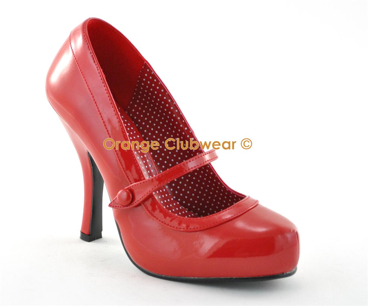 Pinup Sexy Mary Janes High Heels Vintage Style Rockabilly Red Platform