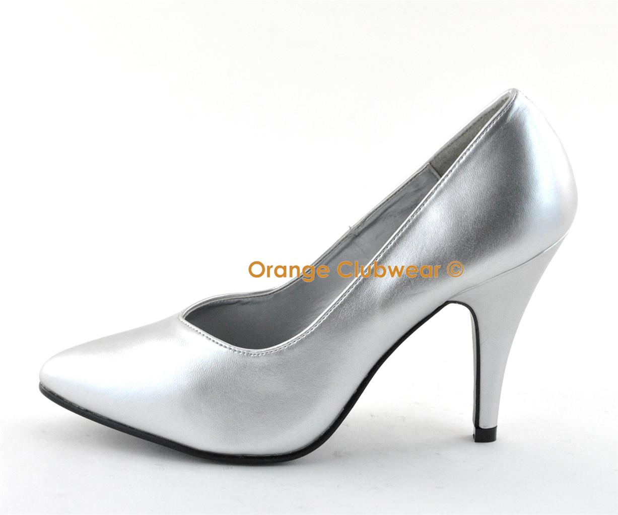 "PLEASER DREAM-420 Sexy 4"" High Heel Silver Pumps WIDE ..."