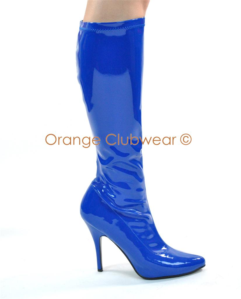 pleaser 2000 womens bright blue knee high