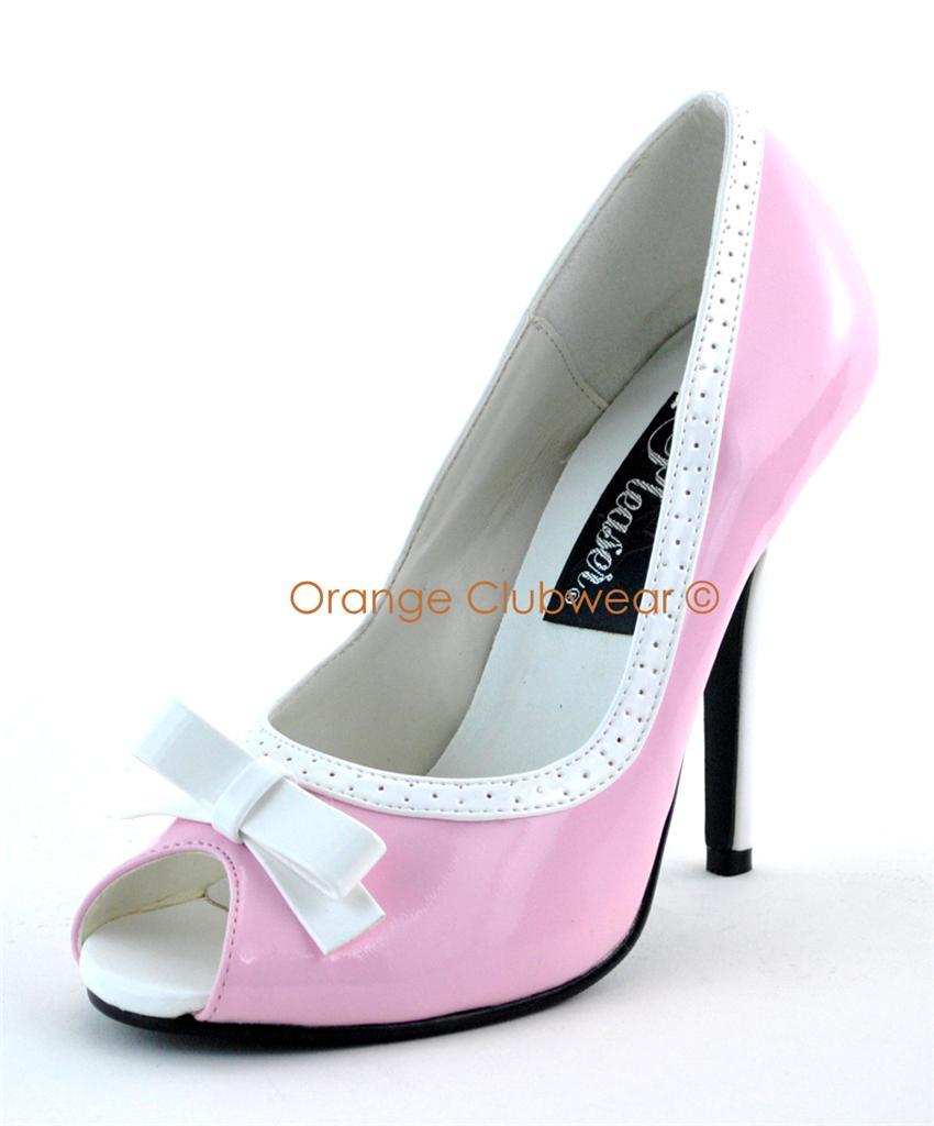 pleaser 218 high heels baby pink white peep