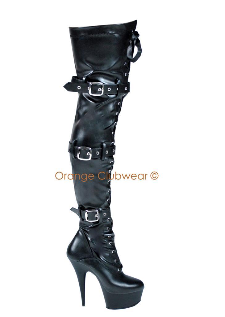 pleaser womens thigh high platform stiletto high heels