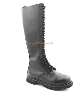 demonia mens leather knee high combat steel toe boots