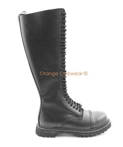 demonia s leather knee high combat steel toe boots