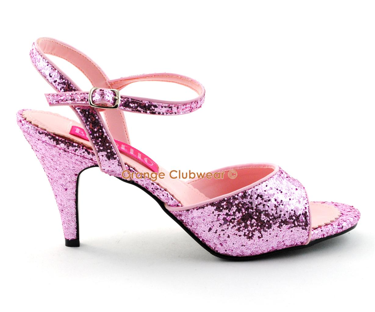 bordello womens pink glitter 3 quot high heels shoes ebay