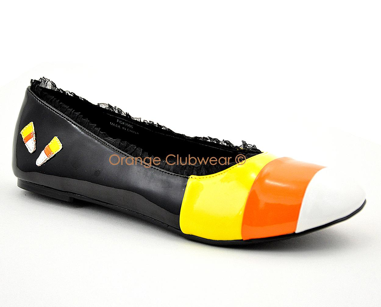 about PLEASER Candy Corn Halloween Flats Women's Costume Party Shoes