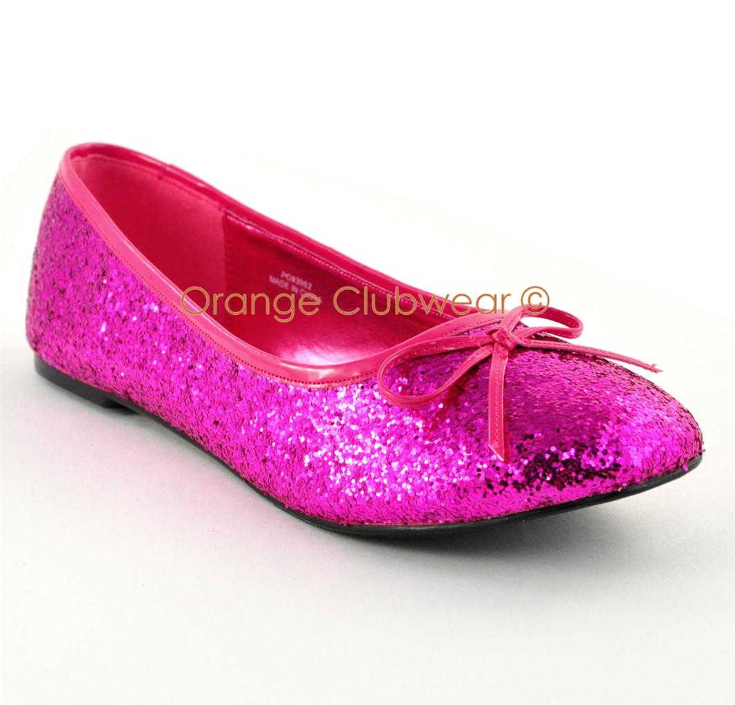 pleaser s solid pink glitter flats