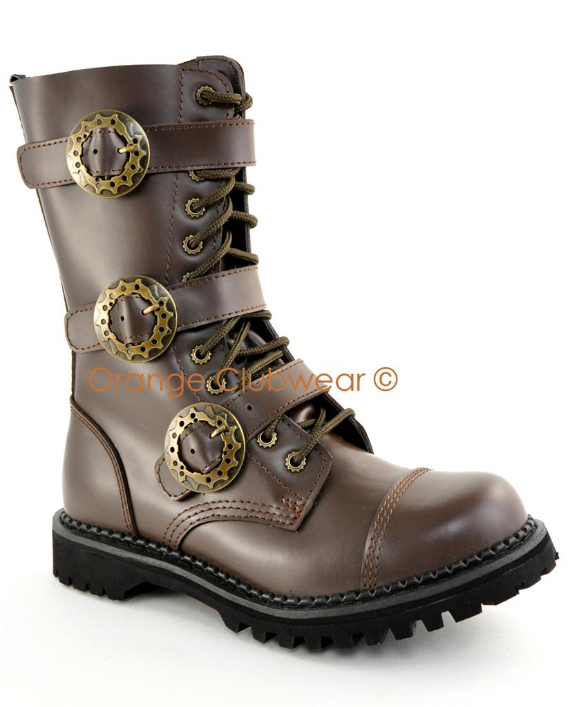 demonia mens steunk brown leather combat ankle boots