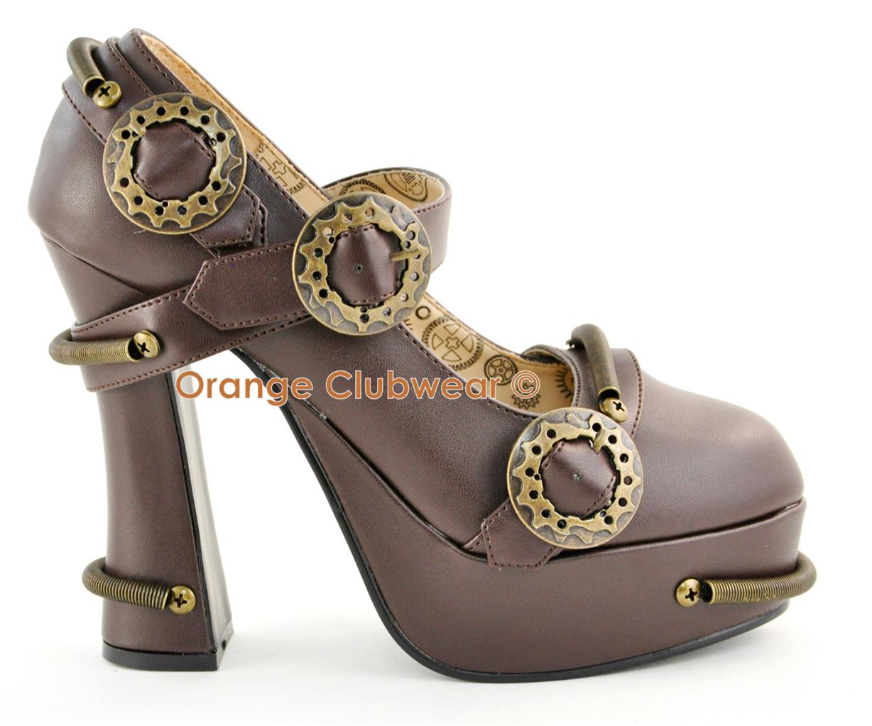 Details about DEMONIA Demon-29 Womens Steampunk Maryjanes Heels Shoes