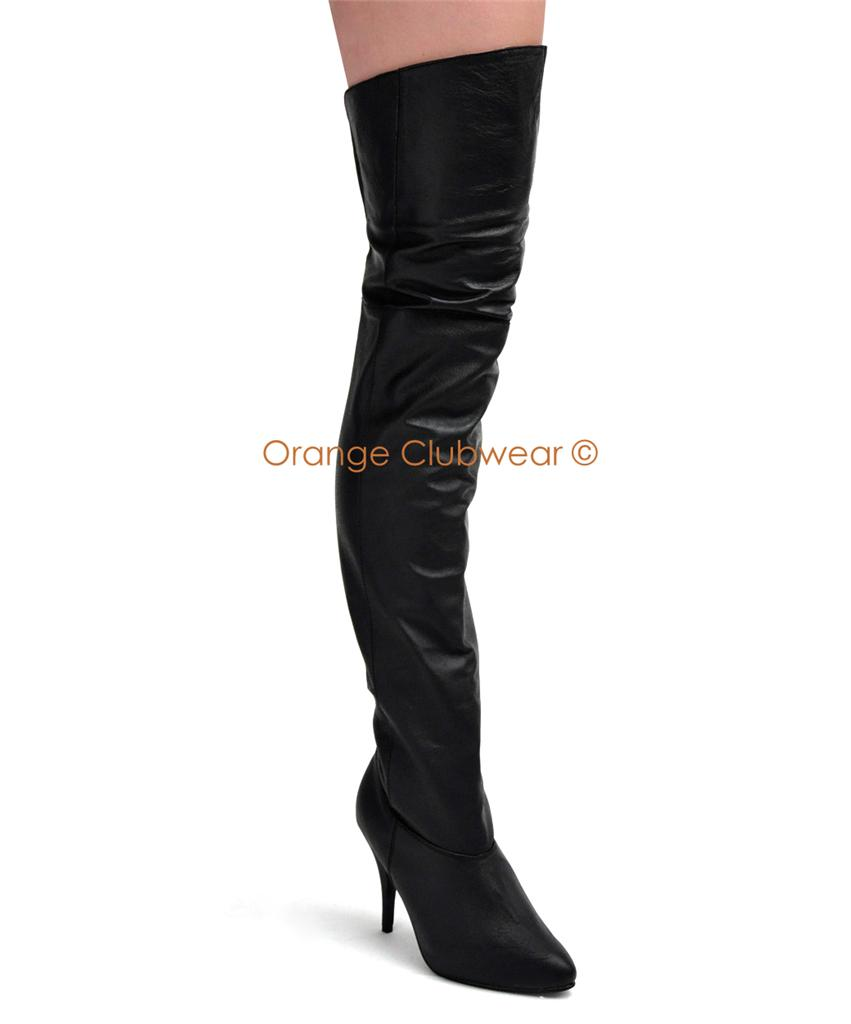 pleaser 4 quot leather thigh high pirate costume boots ebay