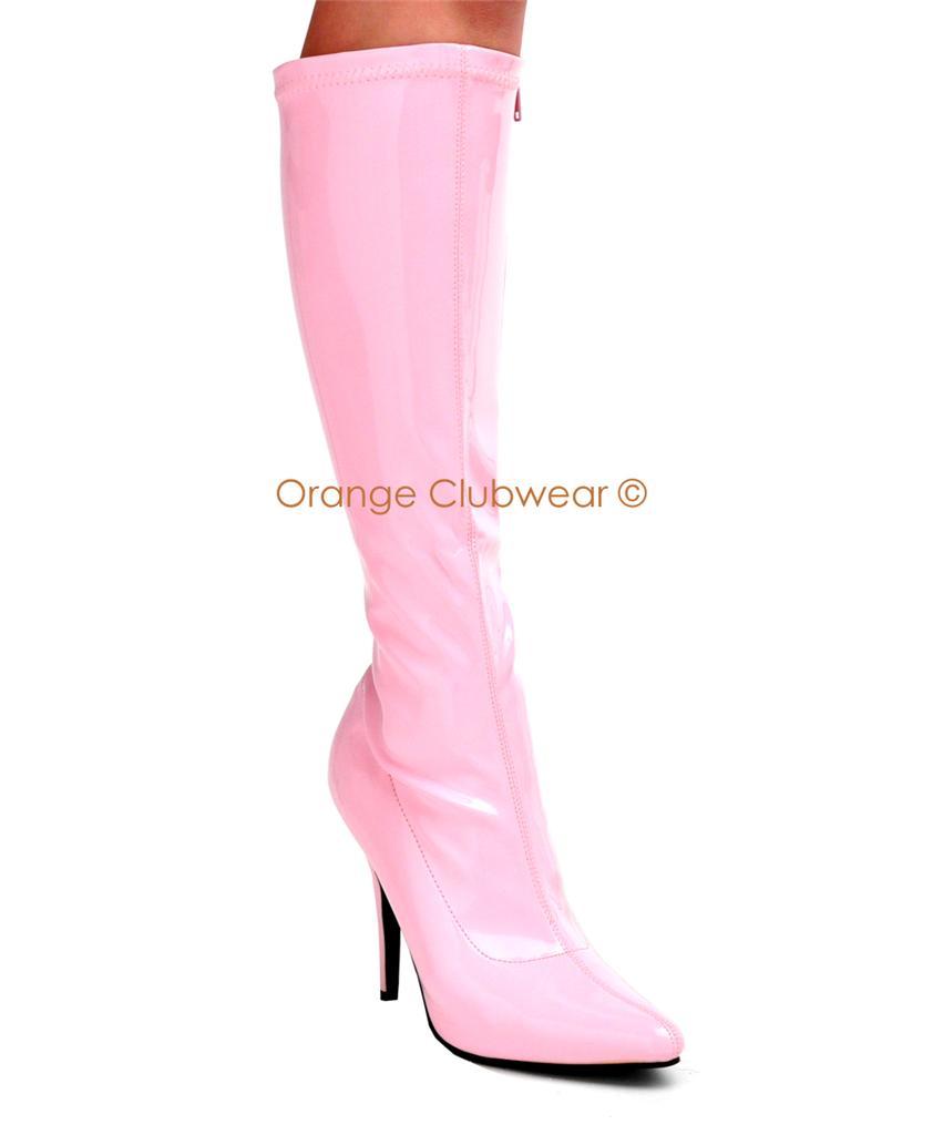 pleaser baby pink knee high 5 quot heels