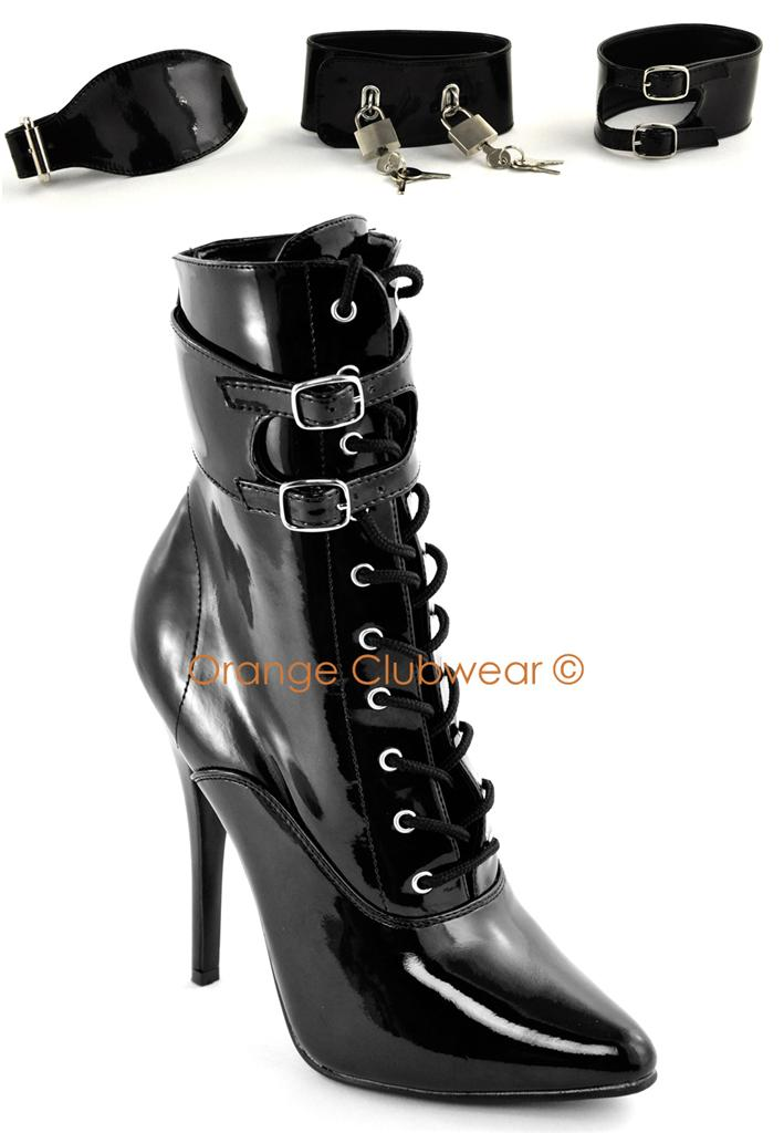 pleaser 6 quot high heels locking ankle boots w multi cuffs ebay