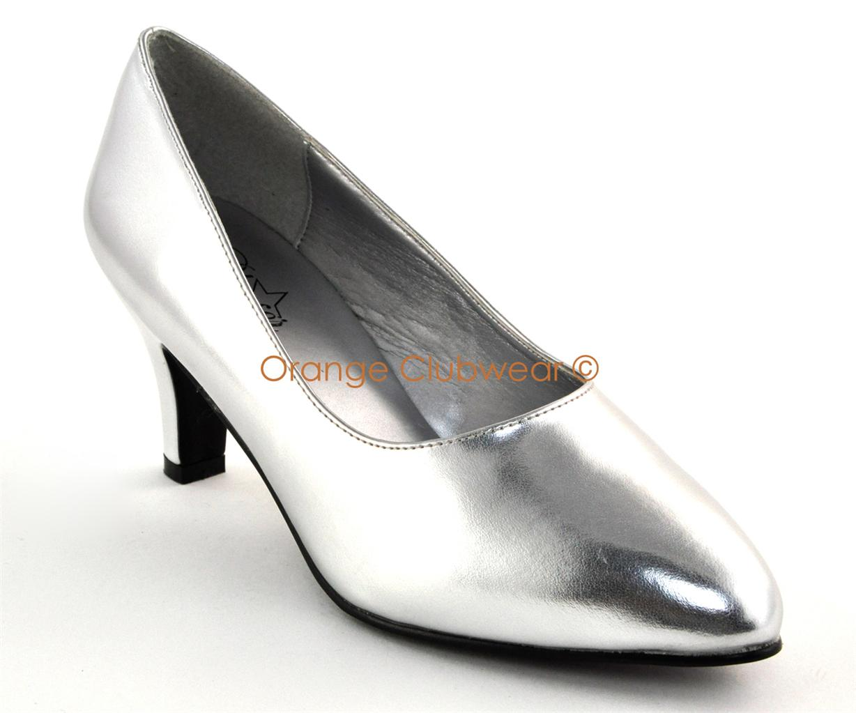 "PLEASER Womens WIDE WIDTH 3"" Sexy Silver Pumps High Heels ..."