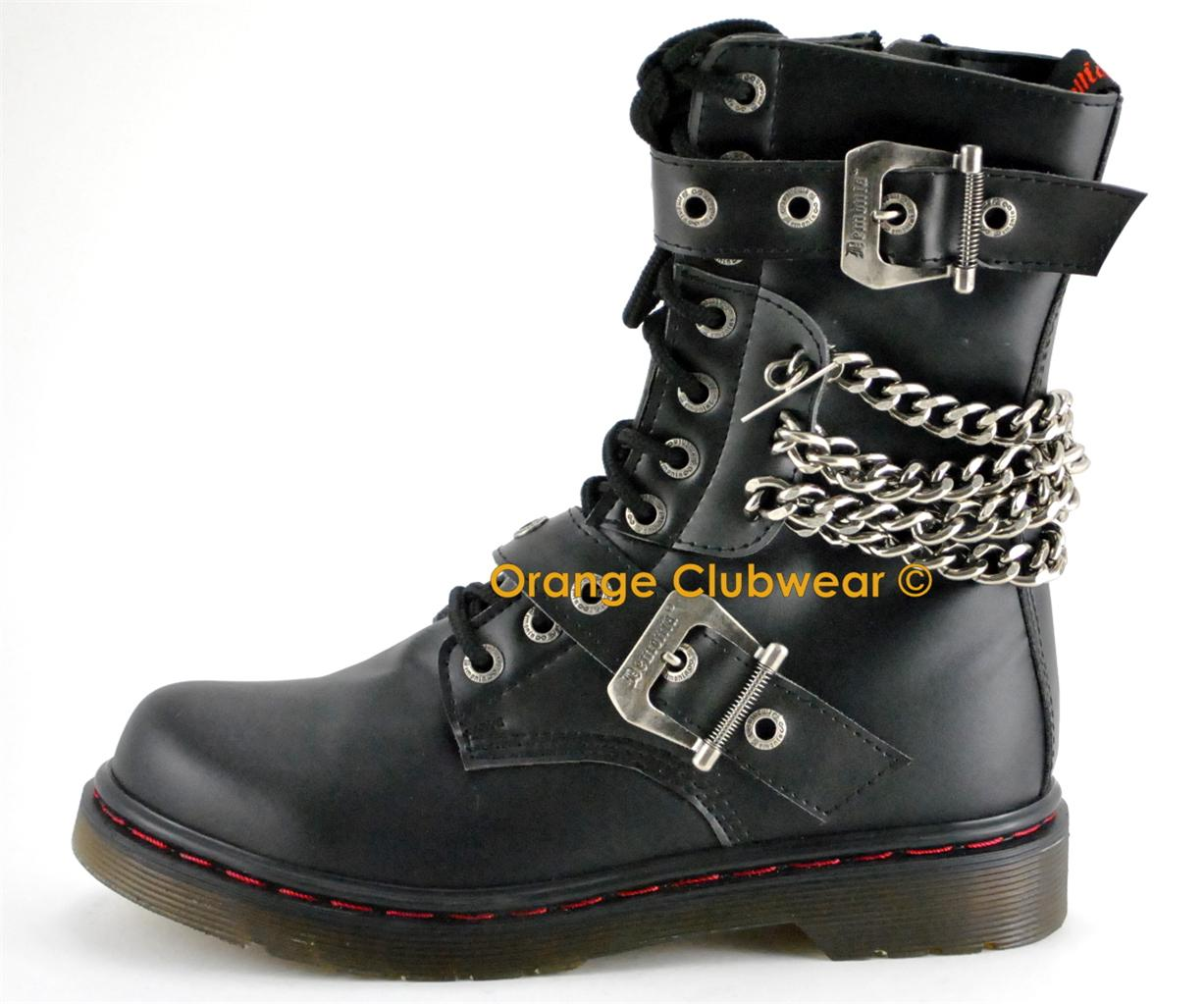 DEMONIA-DISORDER-204-Punk-Gothic-Womens-Ankle-Hi-Chained-Combat-Goth-Boots-Shoes