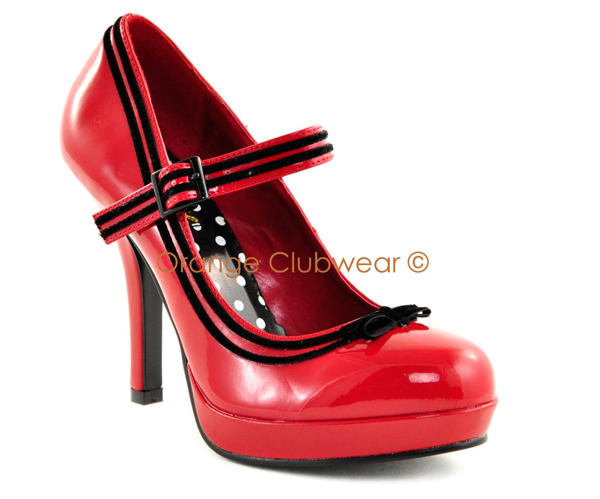 PINUP Womens Red Vintage Style Mary Janes Heels Shoes