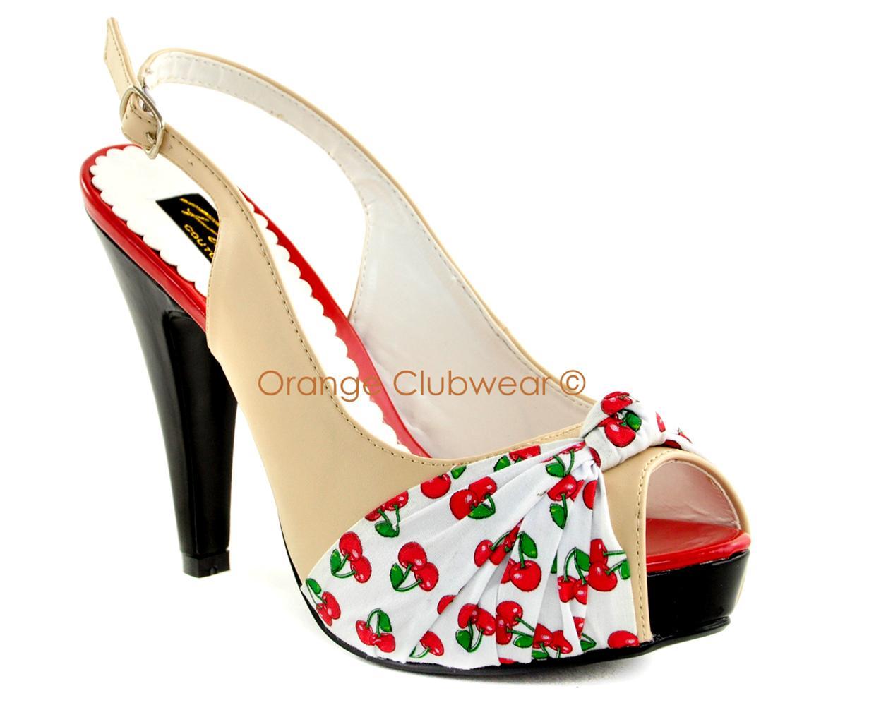 pinup 50s retro style womens platform cherry
