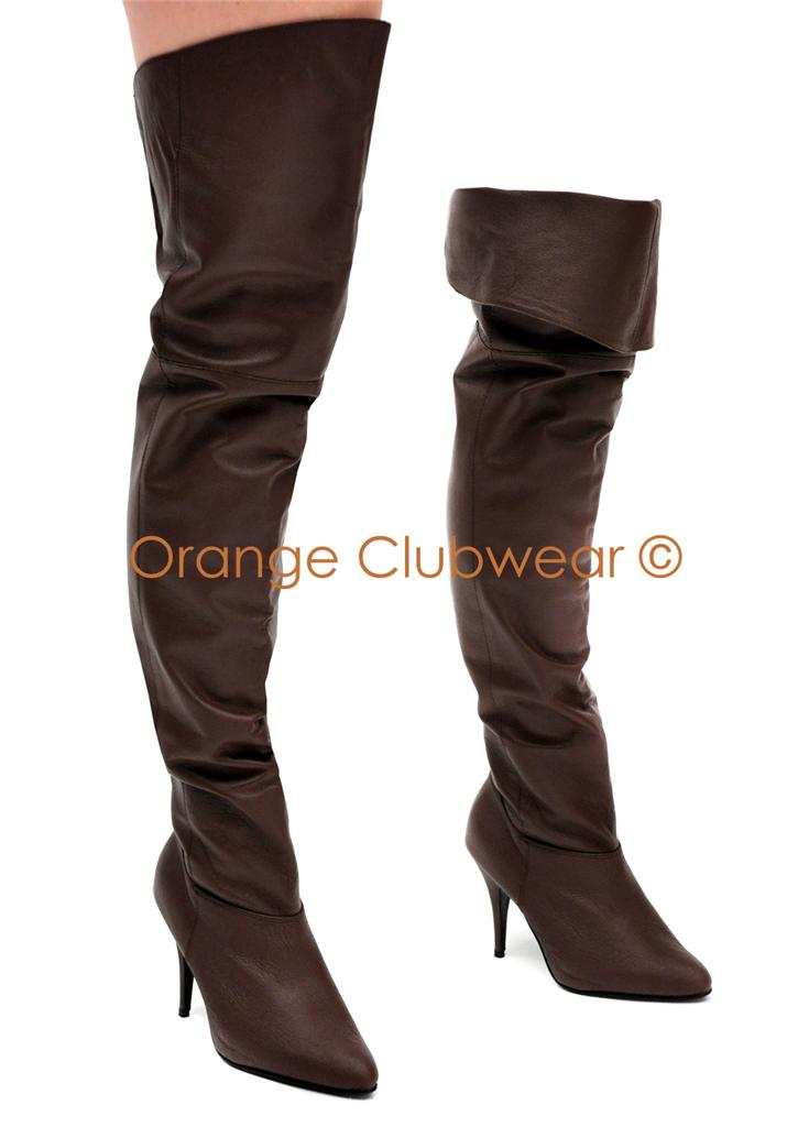 pull on thigh high s brown leather pirate