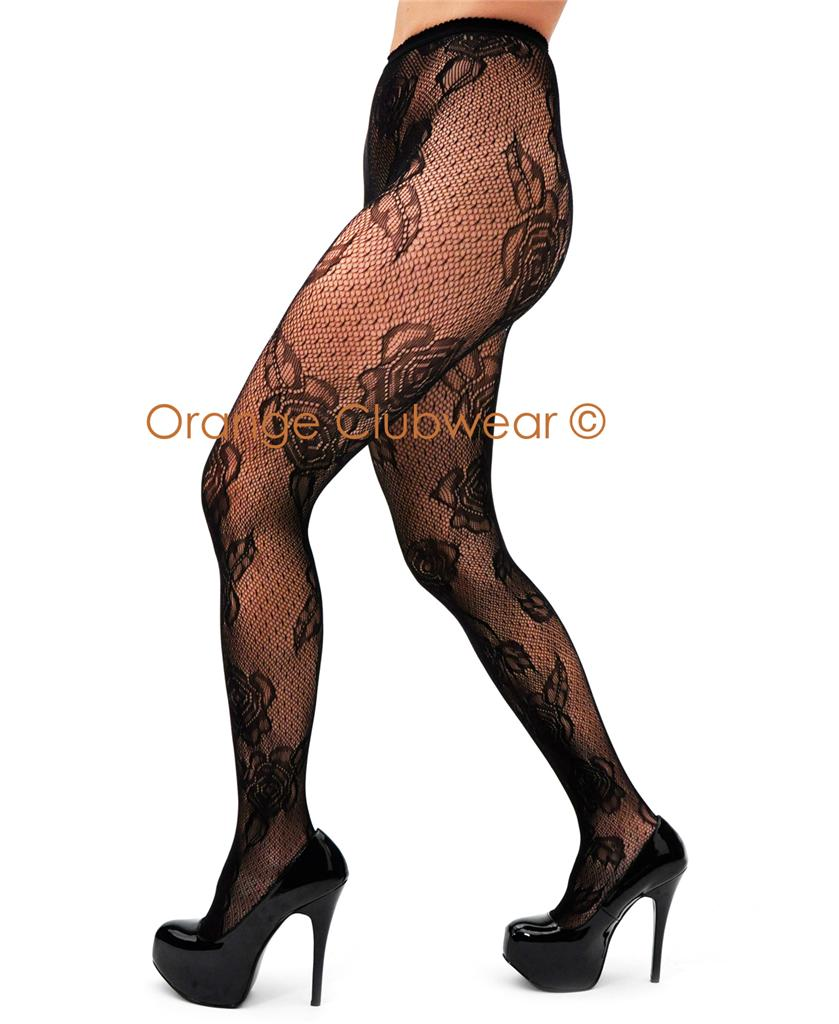 Leg Avenue Black Jacquard Micro Net Rose Lace Pantyhose Tights at Sears.com