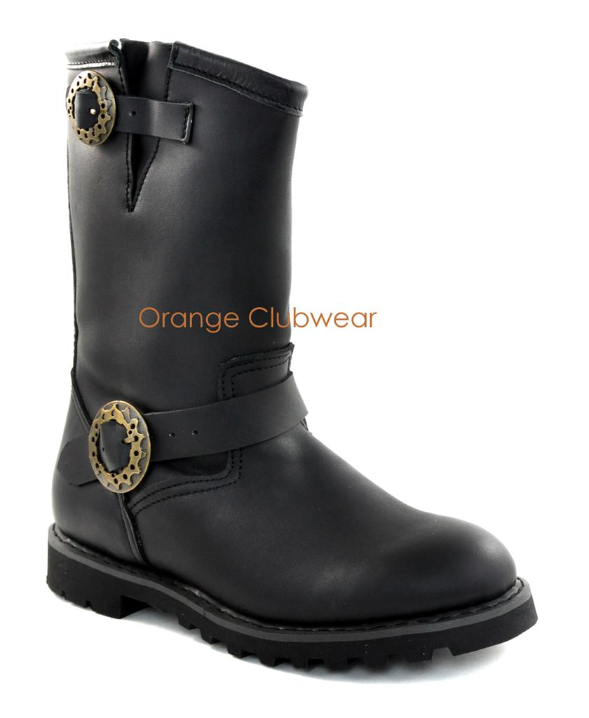DEMONIA Mens Black Leather Pull On Motorcycle Calf High Boots