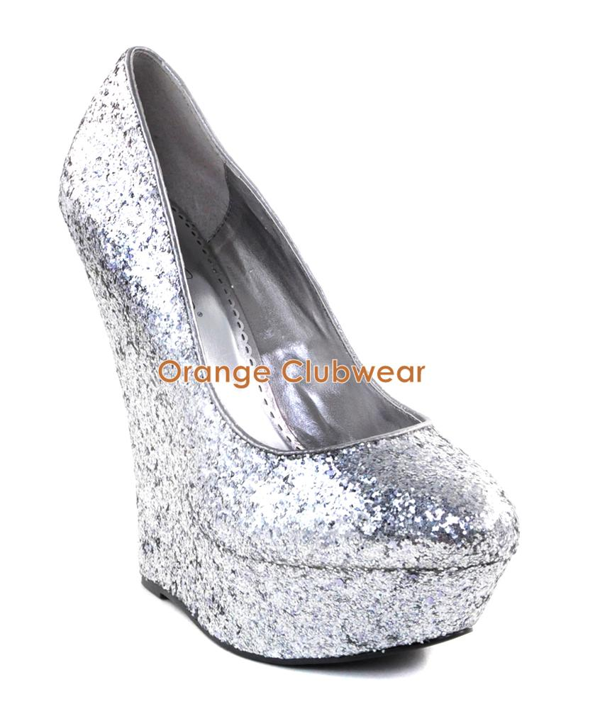 pleaser womens sexy silver glitter wedges 6 high heels. Black Bedroom Furniture Sets. Home Design Ideas