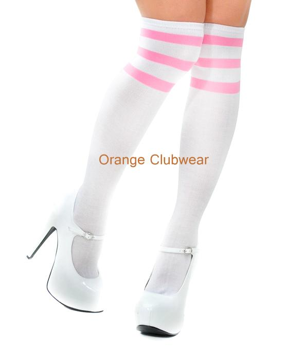Music legs Acrylic Knee Hi High White Pink Striped Sports Athletic School Girl Socks at Sears.com