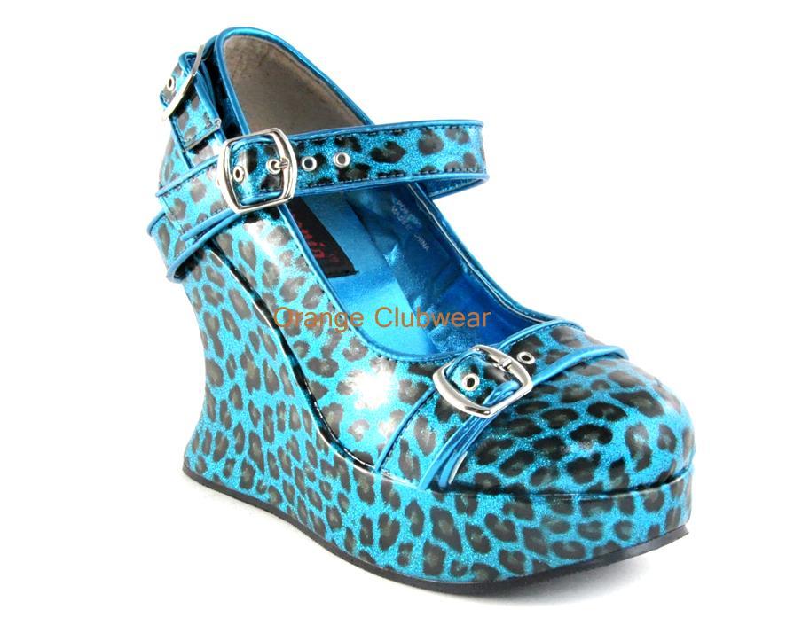 demonia turquoise blue cheetah print glam glitter wedges