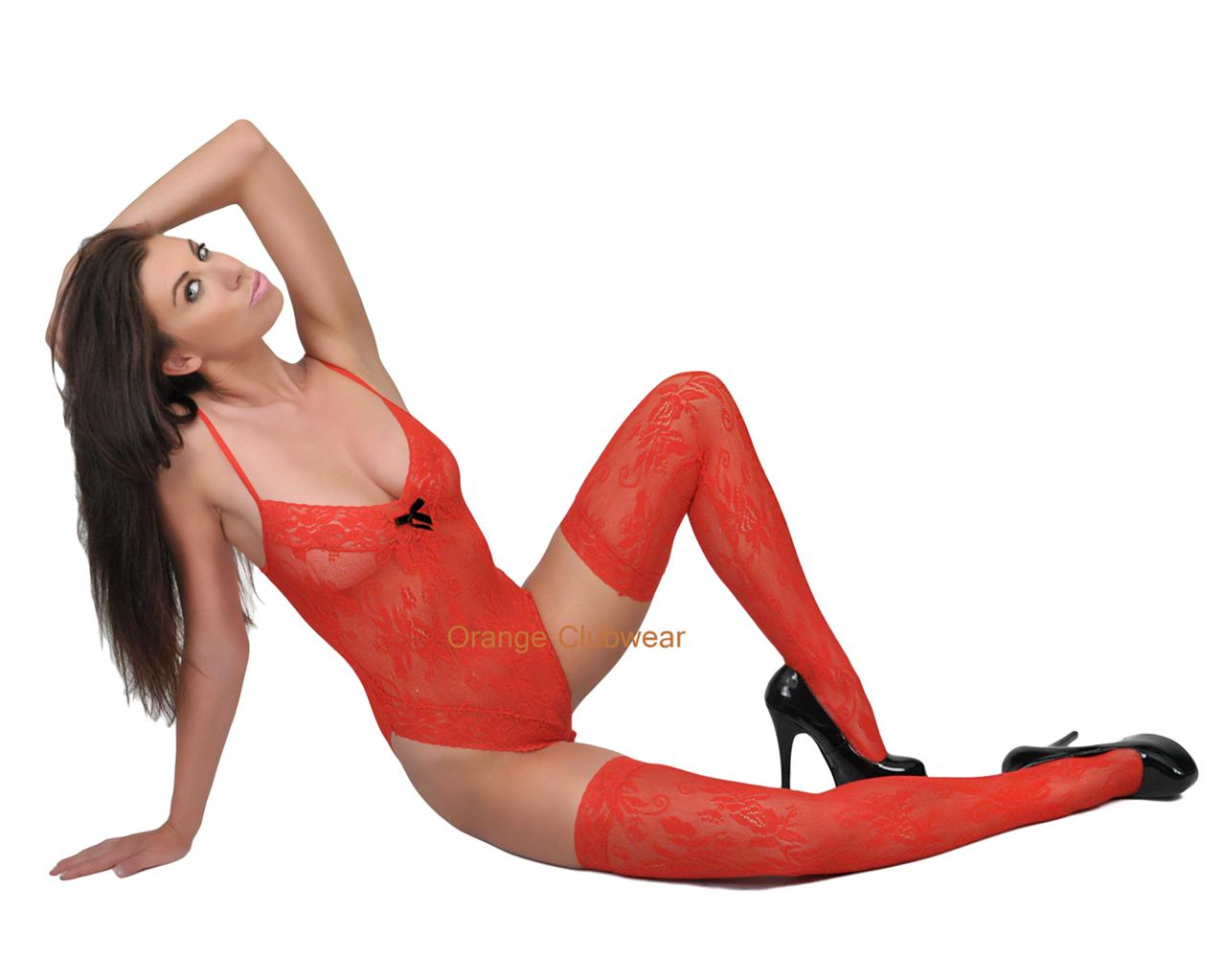 Leg Avenue Red Lace Teddy Snap Closure Thigh High Stocking Lingerie Outfit at Sears.com