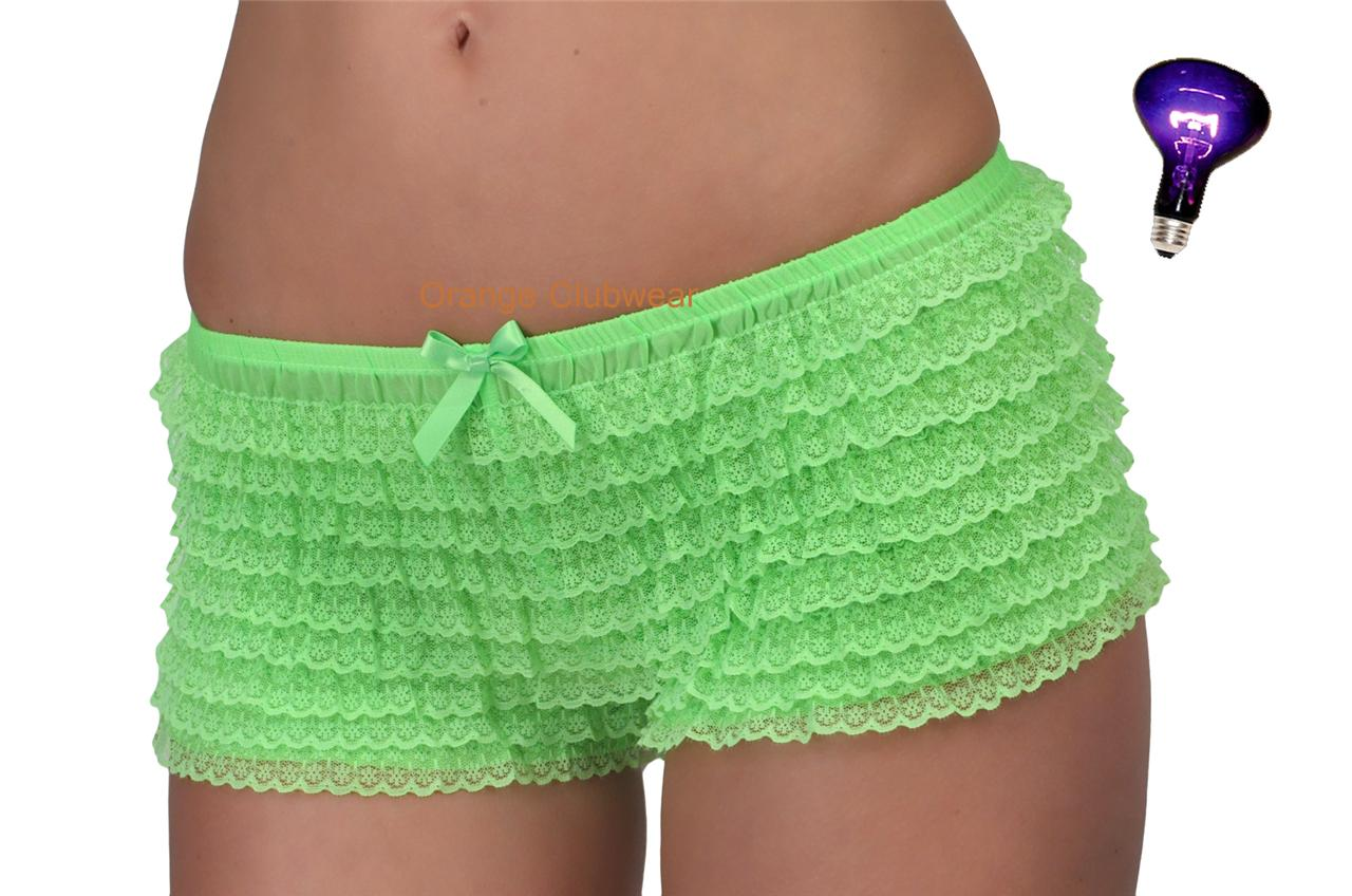 Leg Avenue Rave Neon Bright Green Micromesh Lace Ruffle Tanga Panties Shorts Lingerie at Sears.com