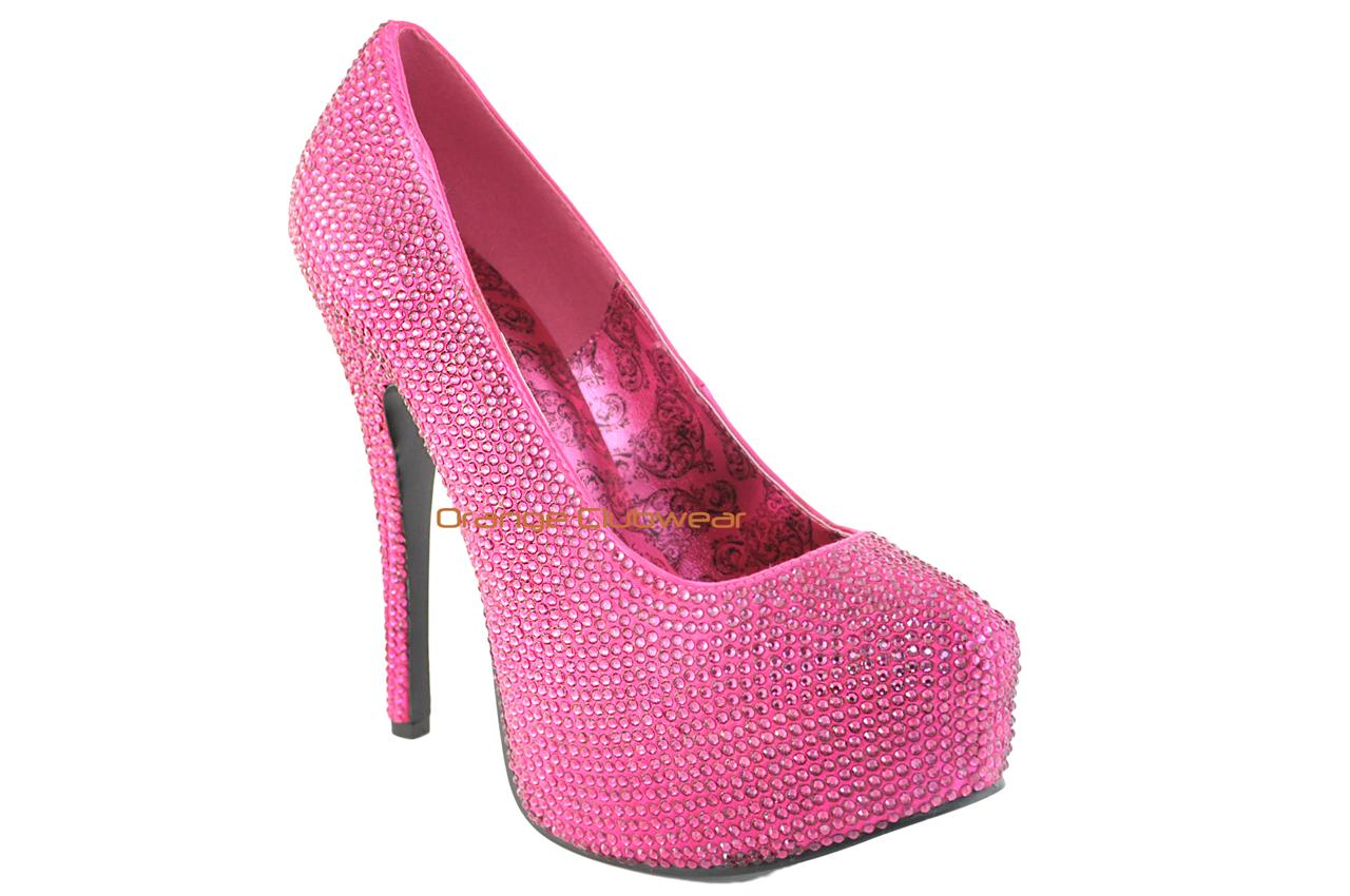 bordello teeze 06 hot pink satin rhinestone platform high heels sexy pump shoes ebay. Black Bedroom Furniture Sets. Home Design Ideas