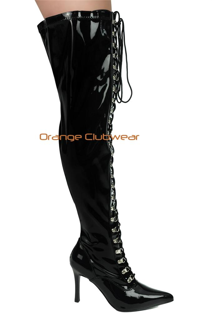 pleaser wide width wide shaft womens black thigh high lace