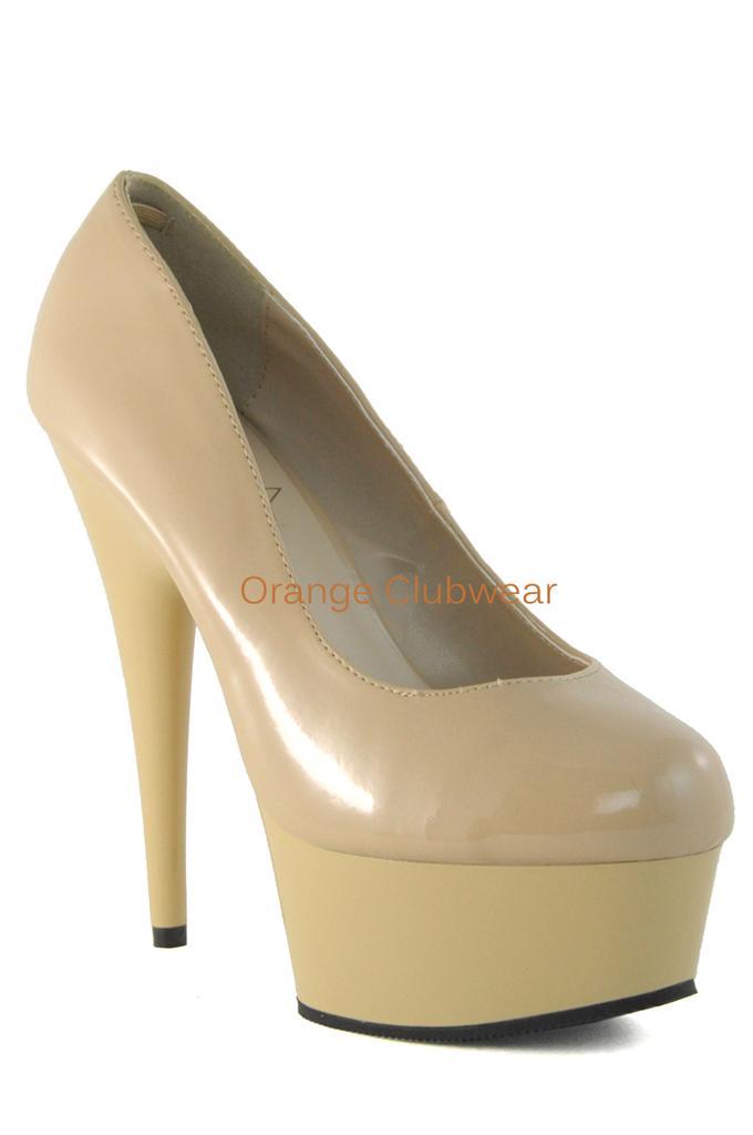 PLEASER DEL685/CR/M Cream Nude Tan Platform 6 Stiletto