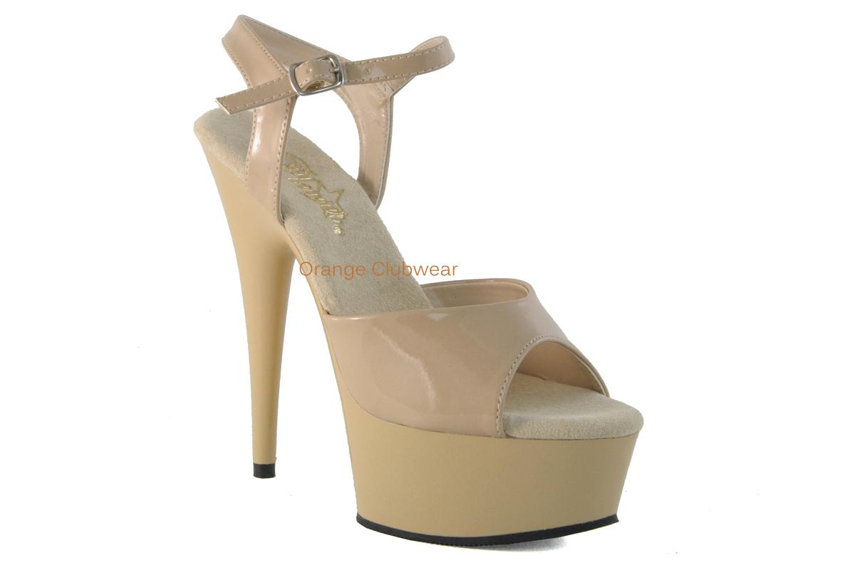 PLEASER-Nude-Cream-6-Platform-Stiletto-Ankle-Strap-Stripper-High-Heels-SHoes