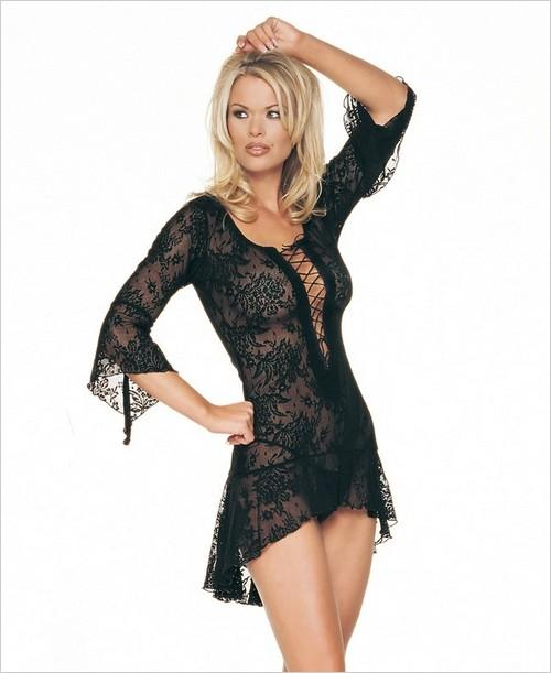 Leg Avenue Spanish Lace Mini Black Dress w/ G-String Flaired Sleeves Lingerie at Sears.com