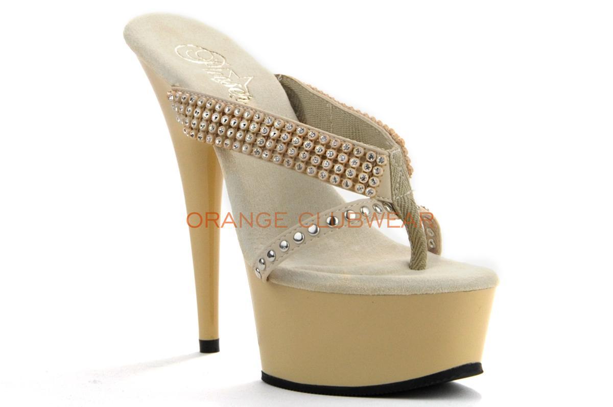 PLEASER Sexy Shoes Classic Cream Beige 5 Stilettos High