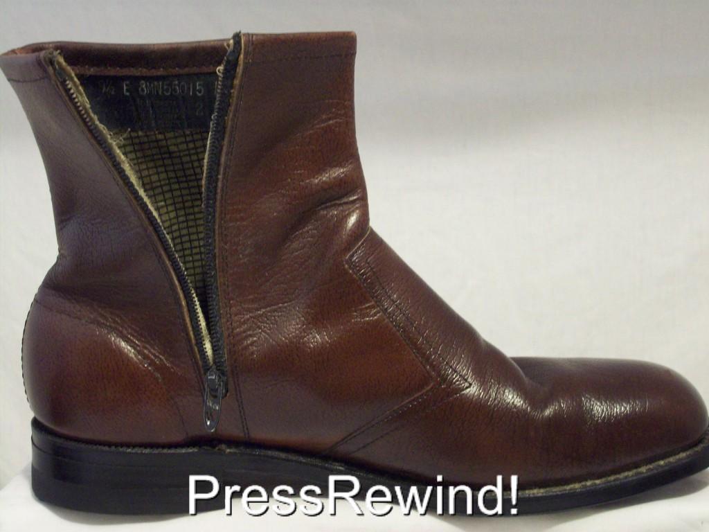vintage knapp boots shoe brown leather side zip 9 5 ebay