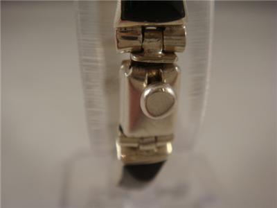 Taxco Sterling Silver Onyx Bracelet 950 Mexico 26g WOW