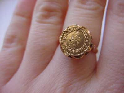Vintage-Solid-14k-Yellow-Gold-Ring-1855-Mexican-Coin