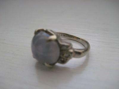 Vintage Art Deco Solid 14k Gold Blue Star Sapphire Ring