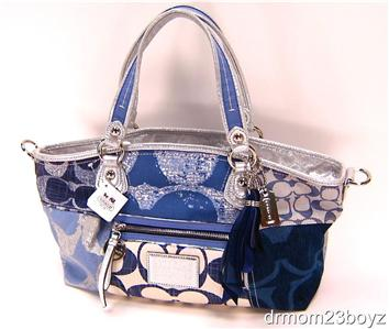 ... NWT Coach Poppy Signature Denim Blue Jean Rocker Shoulder Purse 16732