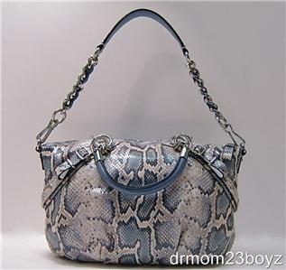 NWT Coach Sophia Ivory  Blue Python Embossed Leather Purse 16354 Ltd ...