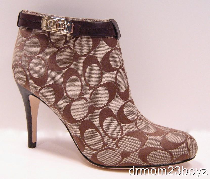 new coach signature high heel boots khaki brown 6