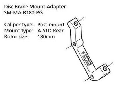 Shimano-Disc-Brake-Adapter-SM-MA-R180-PS-Rear-180mm-Rotor-Post-A-STD-Mount