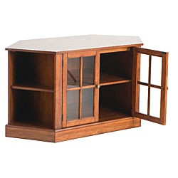 Mission style walnut corner media 42 tv stand for 20 40 window missions