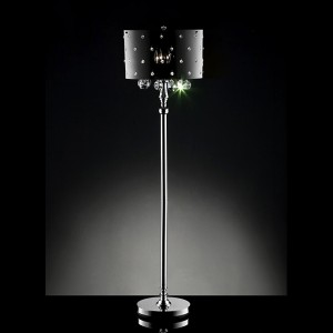 new stardust hanging crystals chrome finish floor lamp w shade ebay. Black Bedroom Furniture Sets. Home Design Ideas