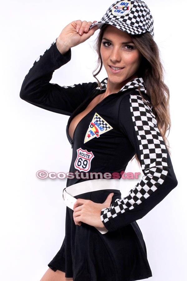 Speed Car Racer Costume Women Grid Girl Fancy Dress Outfit u0026 Cap Hat size 8-14   eBay