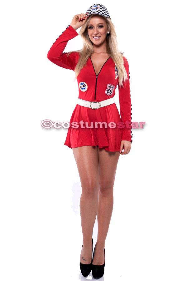 Red Indy Racer Grid Girl Costume Fancy Dress Up Outfit u0026 Cap Hat size M 8-10 | eBay