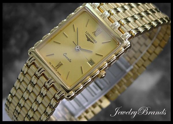 authentic swiss mens 18k gold plated longines flagship dress watch mens 18k gold plated longines flagship rectangular dress watch c 2005