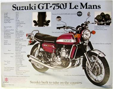 suzuki gt550j indy gt750j le mans motorcycle sales sheet c1972 99404 31000 ebay. Black Bedroom Furniture Sets. Home Design Ideas