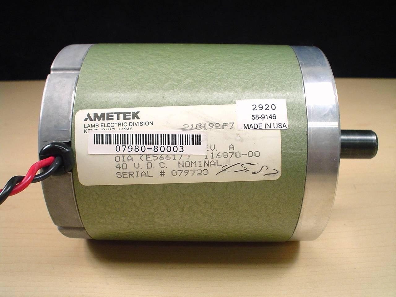 Lamb Electric Ametek 116870 00 40vdc Motor