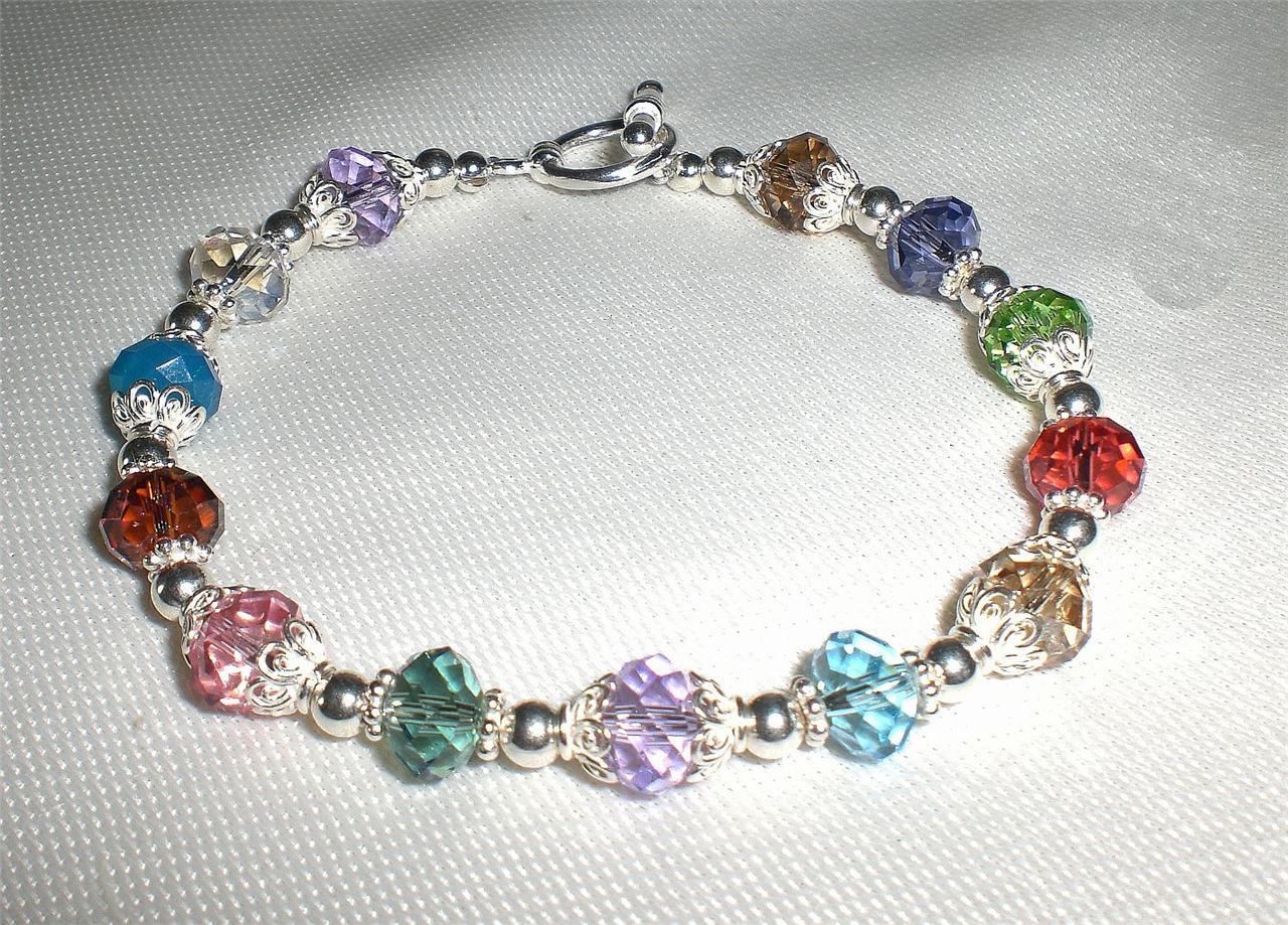 multi color crystal sterling silver bracelet made with swarovski elements ebay. Black Bedroom Furniture Sets. Home Design Ideas