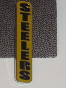 Official NFL Dangle Pittsburgh Steelers Football Black Gold Earrings